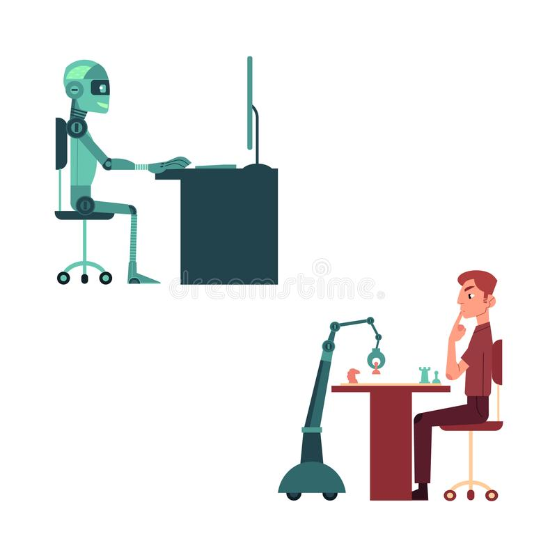 Artificial intelligence images set with young man and robot playing chess and mechanical android at computer. vector illustration