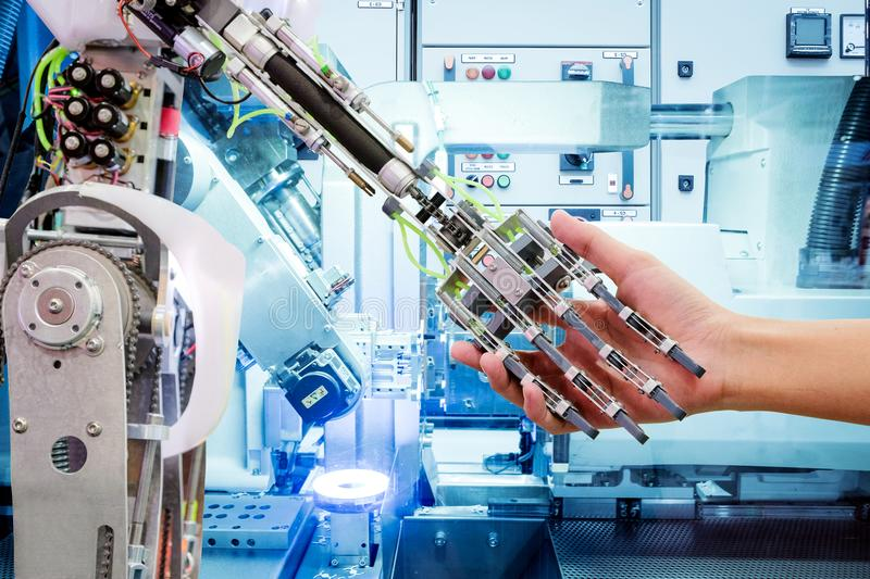 Artificial Intelligence on industrial robotics in blue tone color background royalty free stock photography