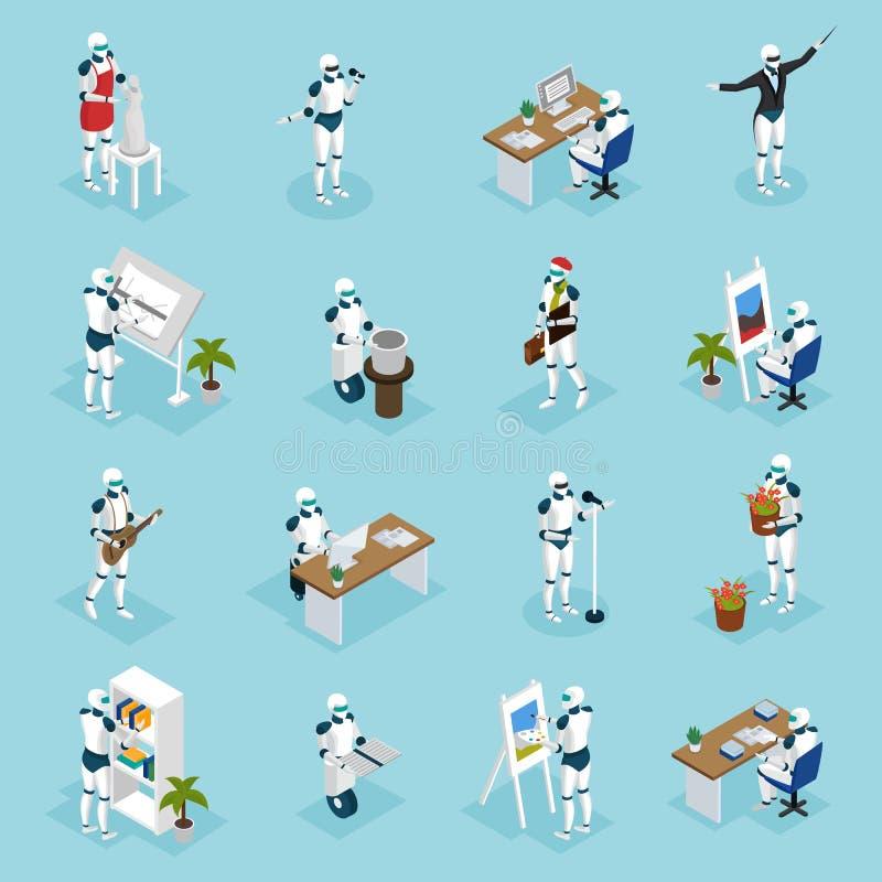Creative Robots Isometric Icons vector illustration