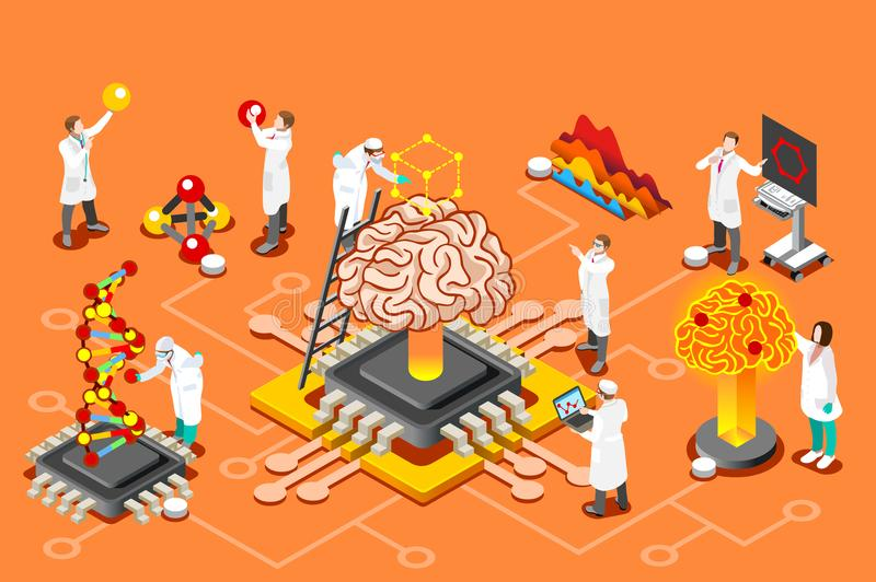 Artificial intelligence isometric images for Hero Images royalty free illustration