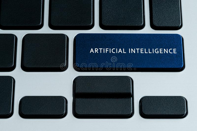 Artificial Intelligence on keyboard royalty free stock photos