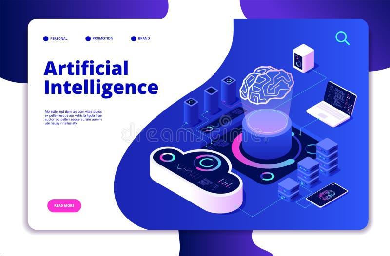 Artificial intelligence landing. Ai smart digital brain networking neural learning intelligent solutions innovations vector illustration
