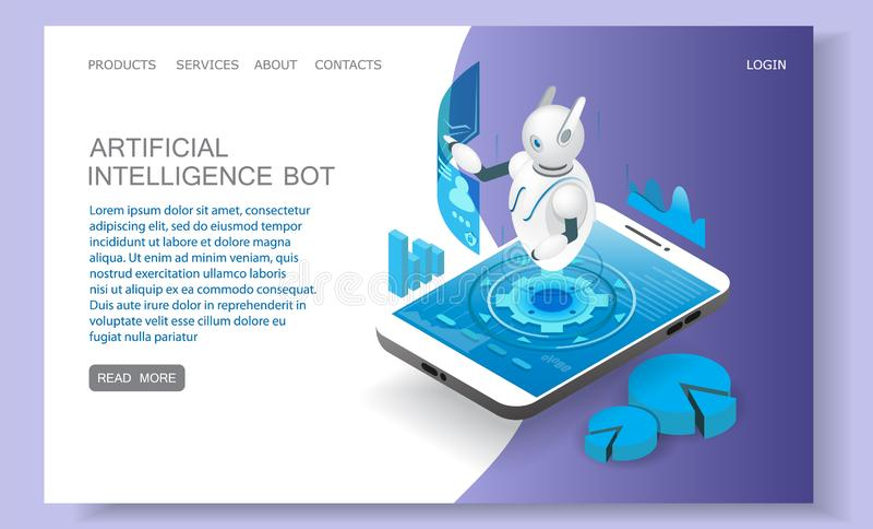 Artificial intelligence landing page website vector template. Artificial intelligence landing page website template. Vector isometric smartphone with chatbot stock illustration