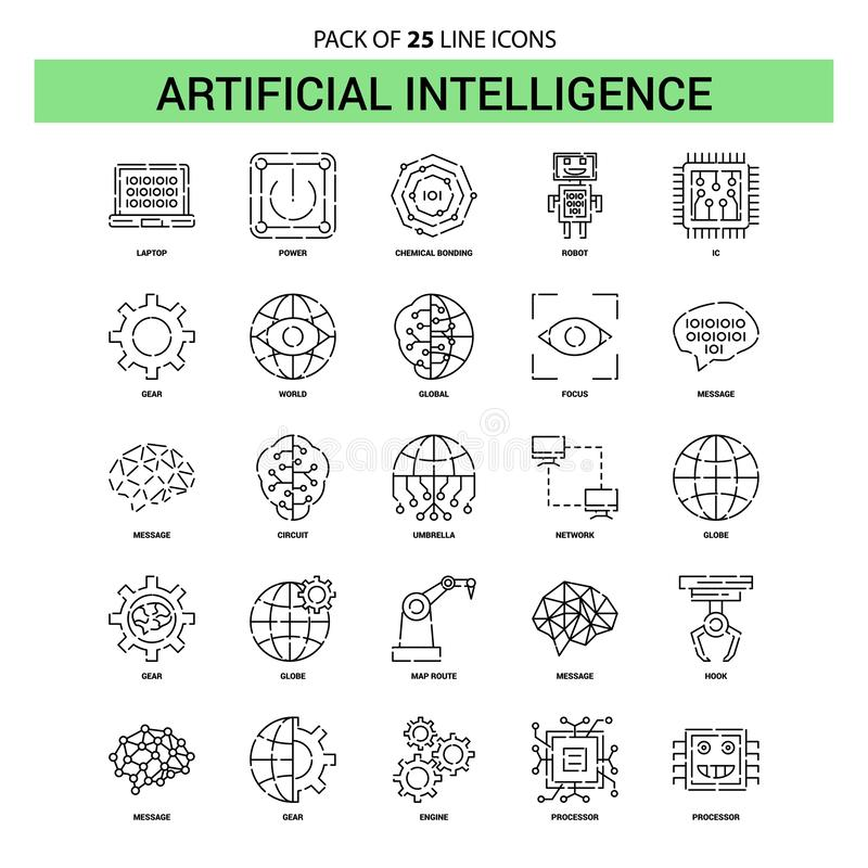 Artificial Intelligence Line Icon Set - 25 Dashed Outline Style. This Vector EPS 10 illustration is best for print media, web design, application design user stock illustration