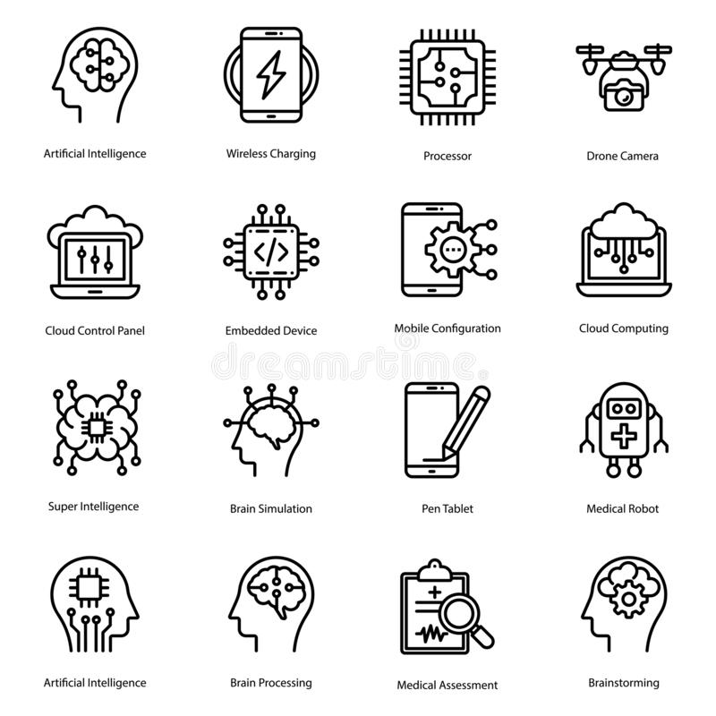 Artificial Intelligence Line Icons Pack royalty free illustration