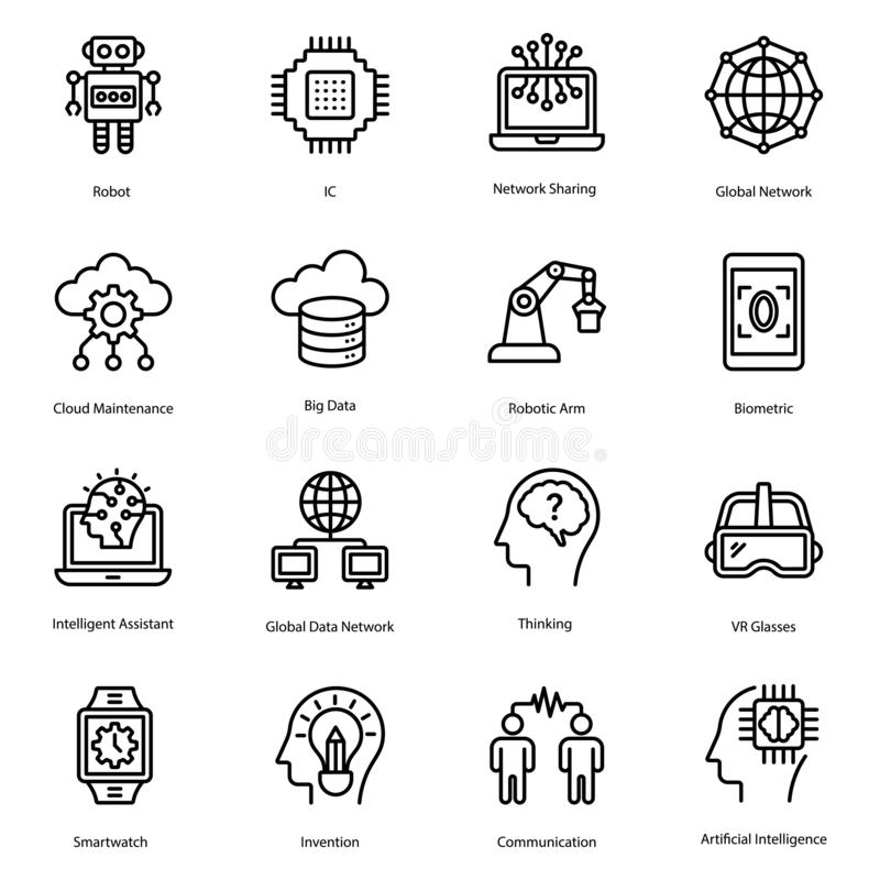 Artificial Intelligence Line Icons Set royalty free illustration