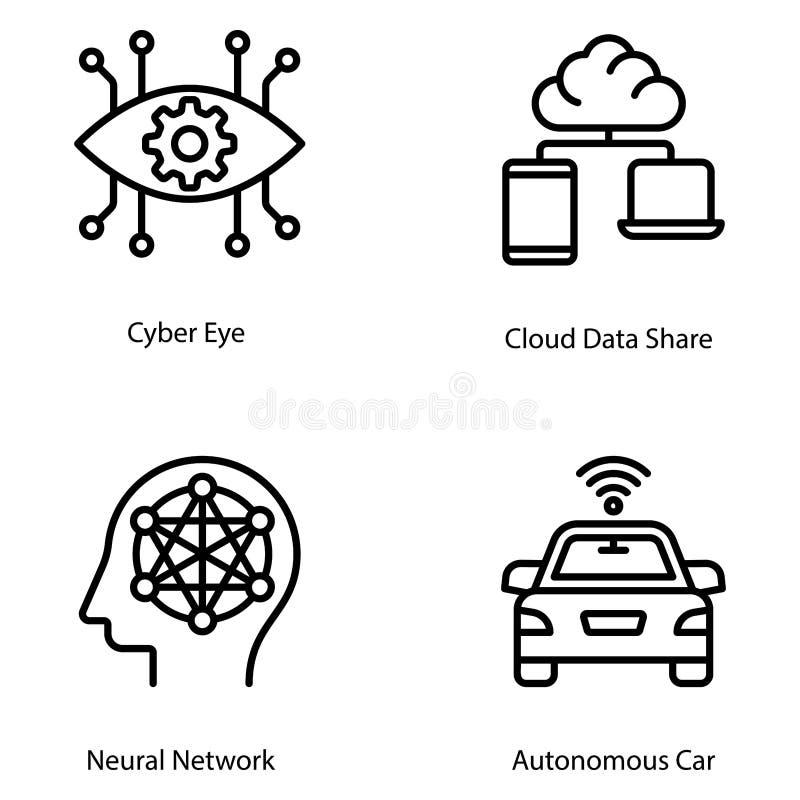 Artificial Intelligence Line Vectors Set vector illustration