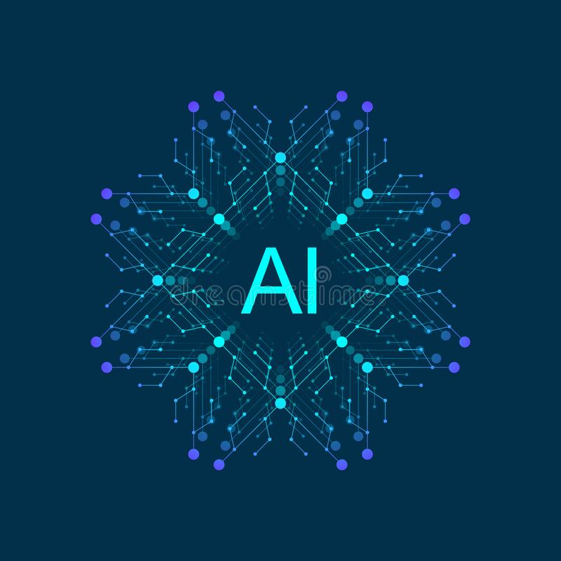 Artificial Intelligence Logo, Icon. Vector symbol AI. Deep Learning and Future Technology Concept Design. royalty free illustration