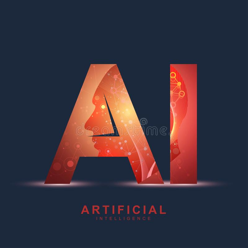 Artificial Intelligence Logo. Artificial Intelligence and Machine Learning Concept. Vector symbol AI. Neural networks. And another modern technologies concepts royalty free illustration
