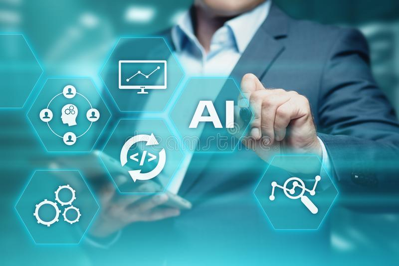 Artificial intelligence Machine Learning Business Internet Technology Concept.  stock images