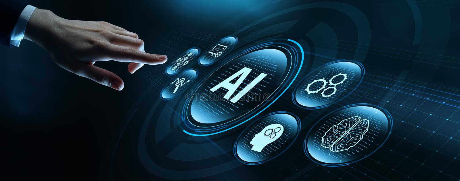 Artificial intelligence Machine Learning Business Technology Concept.  royalty free stock photos