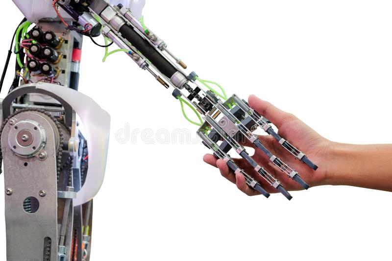 Artificial intelligence and man on handshake in relationship stock photography