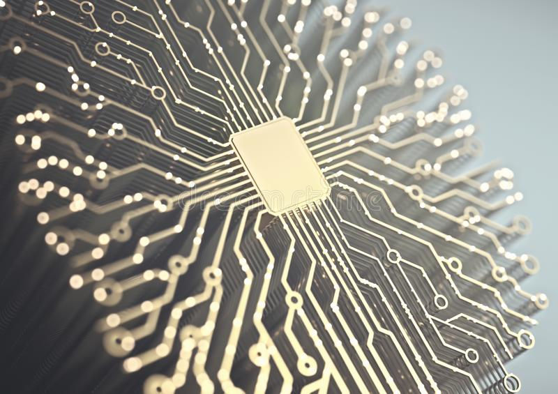 Artificial Intelligence Microchip Brain. Artificial intelligence. Microchip and brain shaped connections. Electric pulses, binary codes, brain activity stock photos