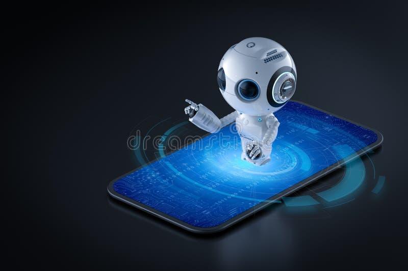 Artificial intelligence on mobile vector illustration