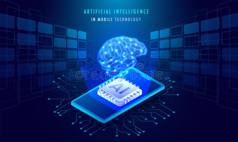 Artificial Intelligence In Mobile Technology concept, isometric vector illustration
