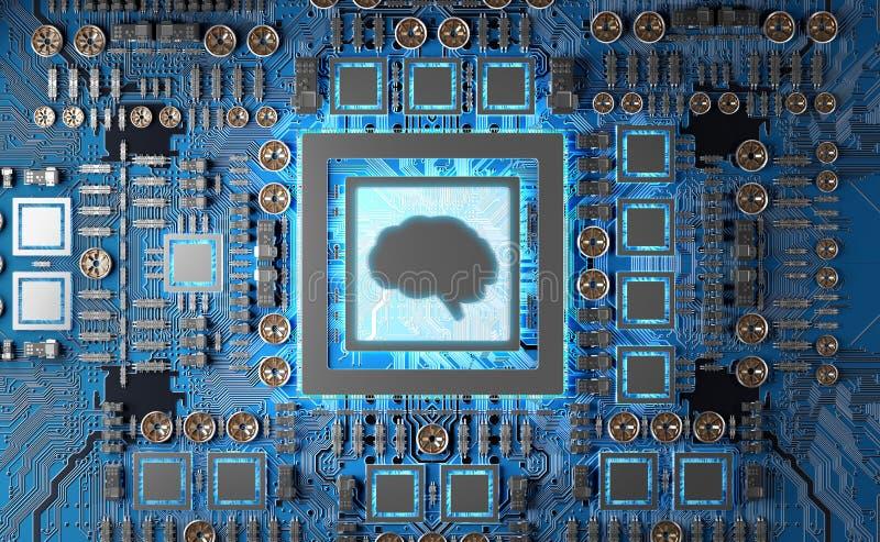 Artificial Intelligence in a modern GPU card 3D rendering. Artificial Intelligence in a complex and modern GPU card 3D rendering vector illustration