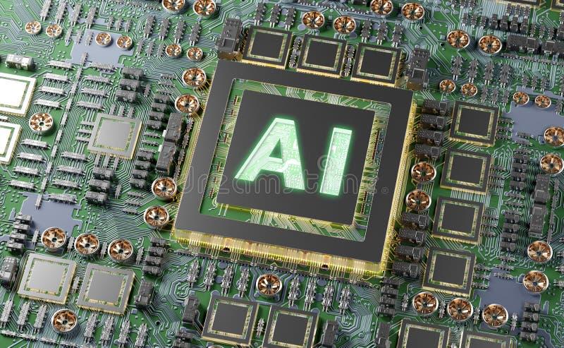 Artificial Intelligence in a modern GPU card 3D rendering. Artificial Intelligence in a complex and modern GPU card 3D rendering stock illustration