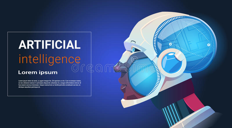 Artificial Intelligence Modern Robot Brain Technology royalty free illustration