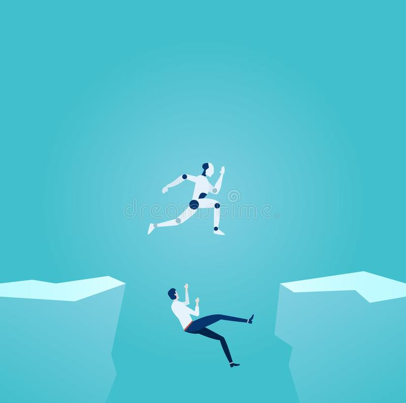 Artificial intelligence and modern technology advantage concept. Vector of a robot jumping over gap overcoming challenges and businessman falling down of the vector illustration