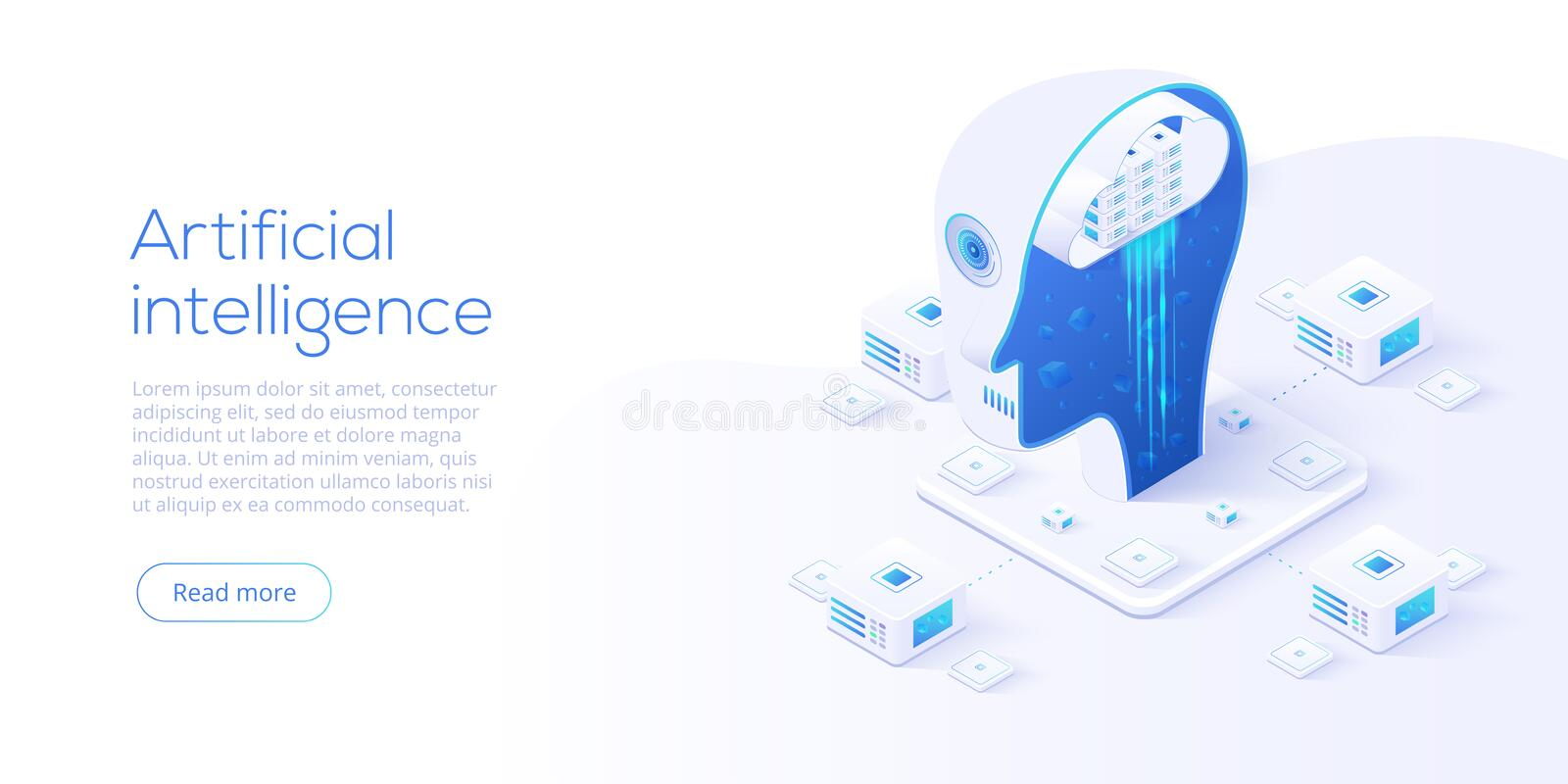 Artificial intelligence or neural network concept in isometric vector illustration. Neuronet or ai technology background with stock illustration