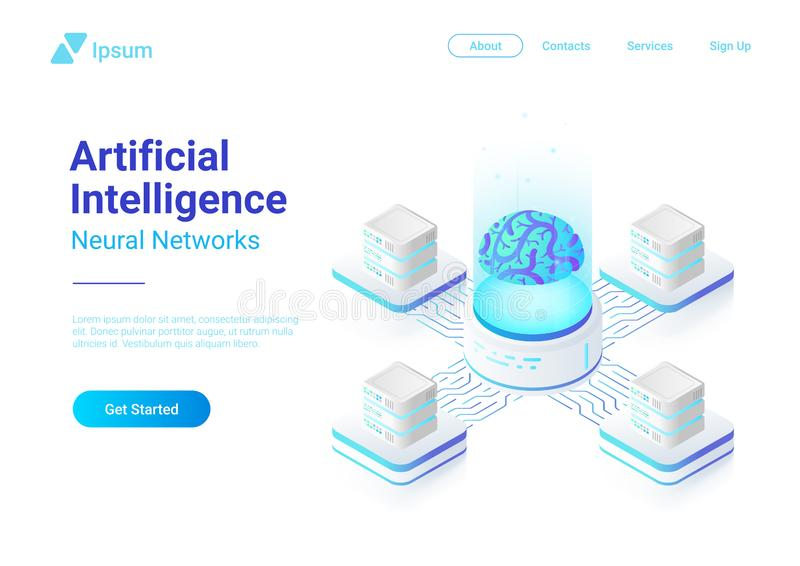 Artificial Intelligence Neural Network with Digital Brain concept isometric flat vector illustration. stock illustration