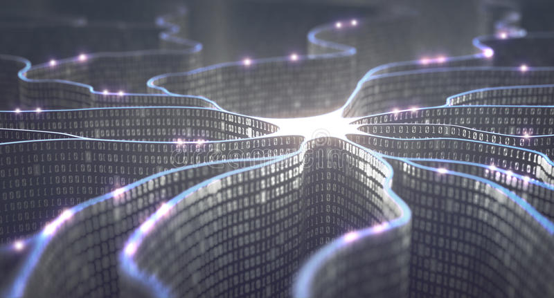 Artificial Intelligence Neural Network. Artificial neuron in concept of artificial intelligence. Wall-shaped binary codes make transmission lines of pulses and/