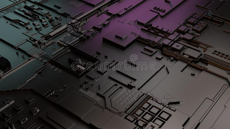 Artificial intelligence related 3D illustration. Electronic brain circuit royalty free stock photos