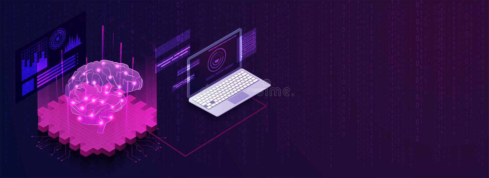 Artificial Intelligence responsive landing page with isometric laptop and human brain. Artificial Intelligence responsive landing page with isometric laptop and vector illustration