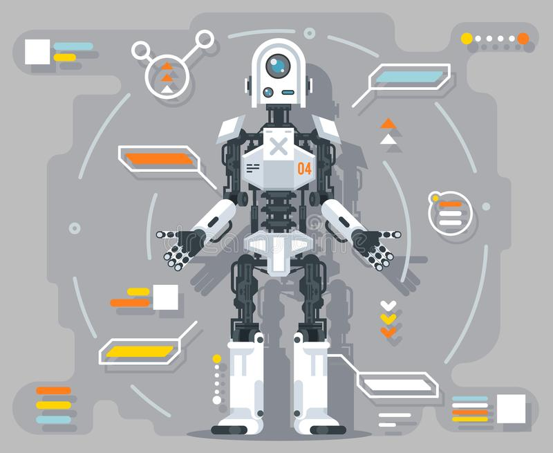 Artificial intelligence robot android futuristic information interface flat design vector illustration. Artificial intelligence robot android information royalty free illustration