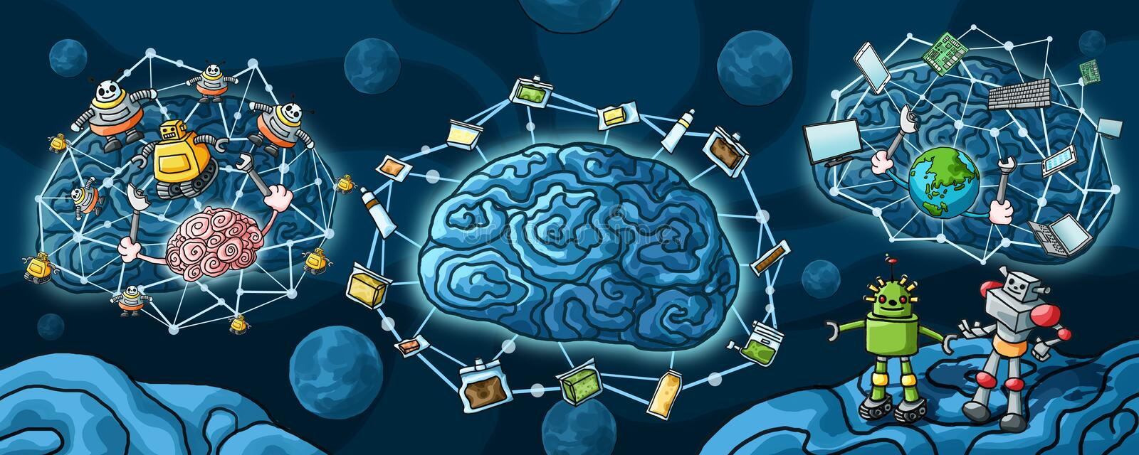 Artificial Intelligence Robot and brain paint vector illustration