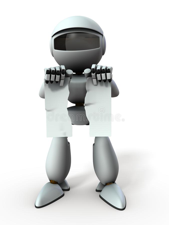 The artificial intelligence robot broke the document. It represents the destruction of the contract. White background. 3D. Illustration royalty free illustration