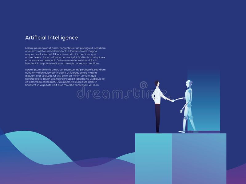 Artificial intelligence robot and businessman shaking hands vector concept. Symbol of new technology, future, innovation stock illustration