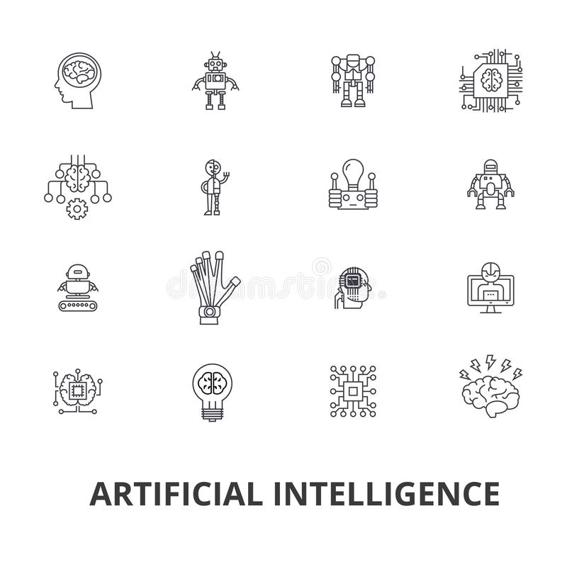 Artificial intelligence, robot, computer brain, technic, cyborg, brain, android line icons. Editable strokes. Flat vector illustration