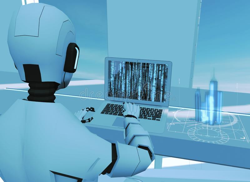 Artificial intelligence, robot. Cyborg on the computer. Sci-fi. Science fiction. Programming. Architectural project, skyscrapers. Artificial intelligence, robot royalty free illustration