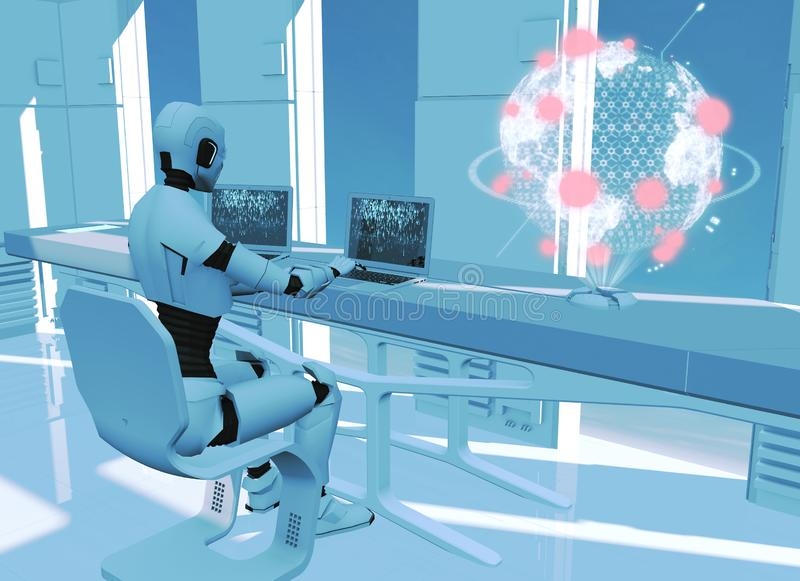 Artificial intelligence, robot. Cyborg on the computer. Sci-fi. Science fiction. Programming. Earth map hologram. Globe, world explosions. Military defense. 3d stock illustration