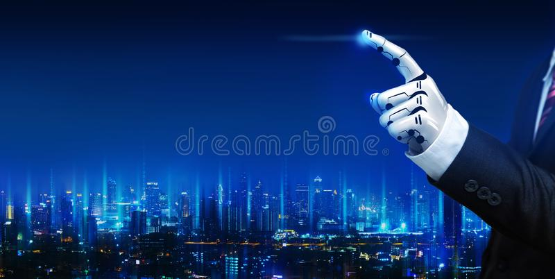 Artificial intelligence robot hand. Artificial intelligence AI robot hand with business suit against technology graphic and future city background at night royalty free stock photography