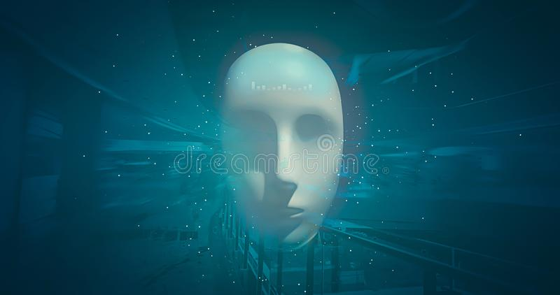 Artificial intelligence of robot heads in the future world on the background of high technology. Development of technology and royalty free stock photos