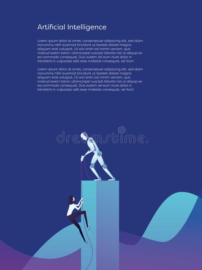 Artificial intelligence robot helping woman climb higher vector concept. Symbol of assistance, help and support from stock illustration