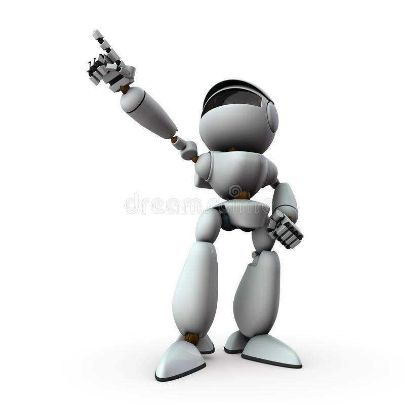 The artificial intelligence robot is pointing towards the target. royalty free illustration