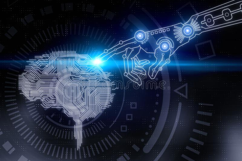 Artificial intelligence and robotics concept. Hand pointing at glowing digital brain. Artificial intelligence and robotics concept. 3D Rendering royalty free stock image