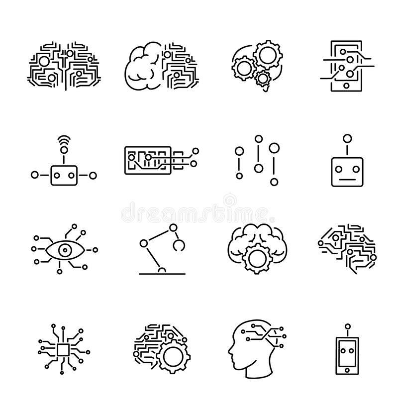 Artificial intelligence robotics outline icons collection. Futuristic computer technology science icons set. Artificial intelligence robotics outline icons royalty free illustration