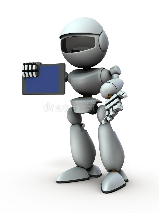 Free Artificial Intelligence Robots Use Tablet Devices To Present Something. Royalty Free Stock Photos - 158816208