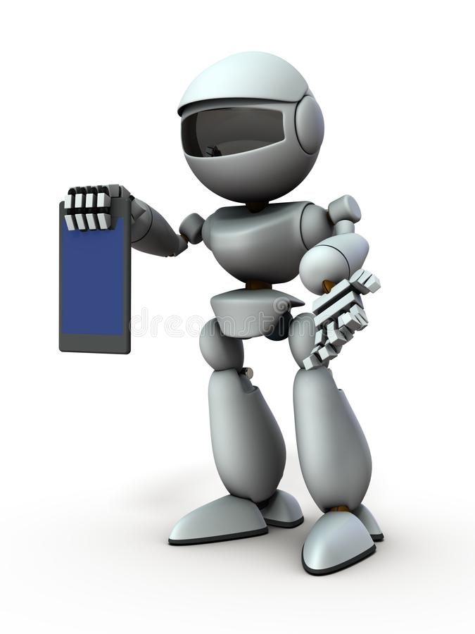 Artificial intelligence robots use tablet devices to present something. White background. 3D illustration vector illustration