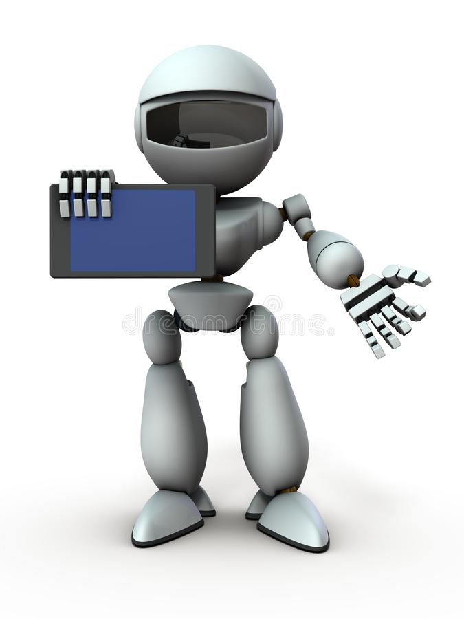 Artificial intelligence robots use tablet devices to present something. White background. 3D illustration royalty free illustration