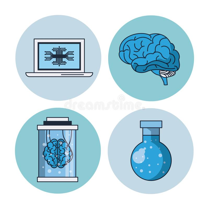 Artificial intelligence round icons. Icon vector illustration graphic design, brain stock illustration