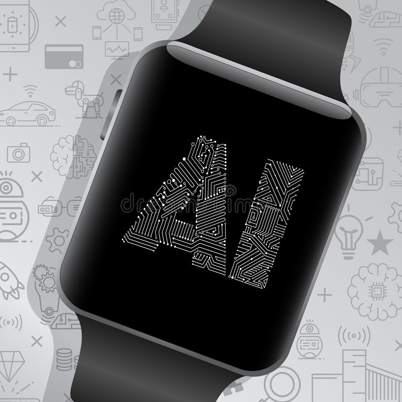 Artificial intelligence on smart watch.  royalty free illustration