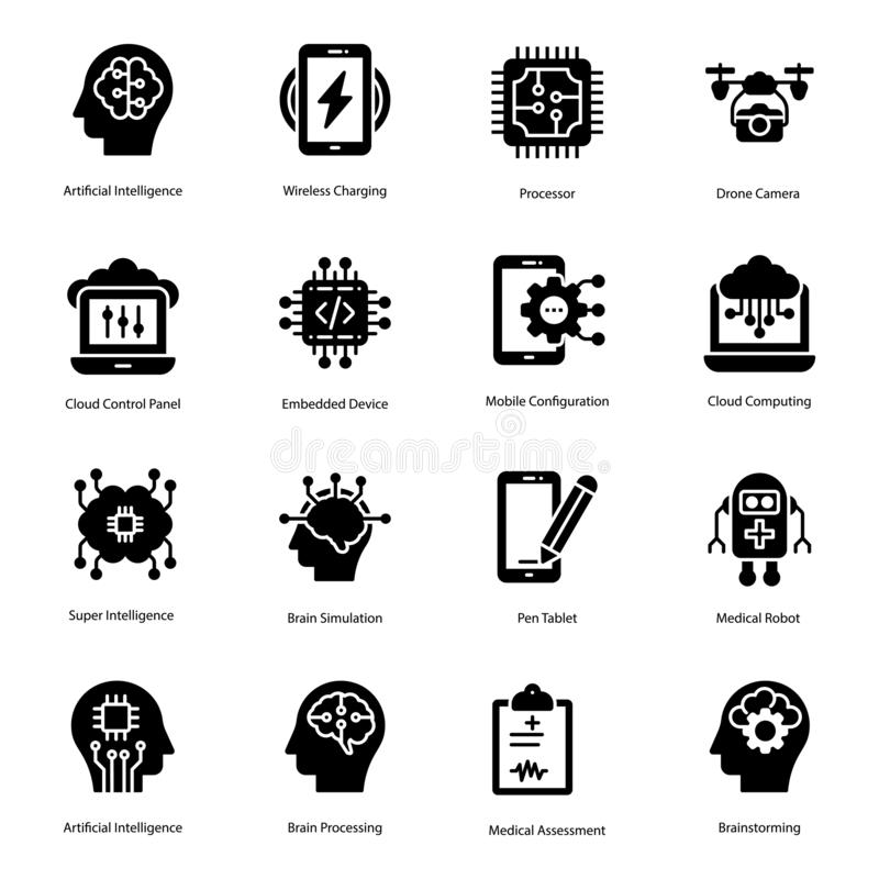 Artificial Intelligence Solid Icons Pack vector illustration