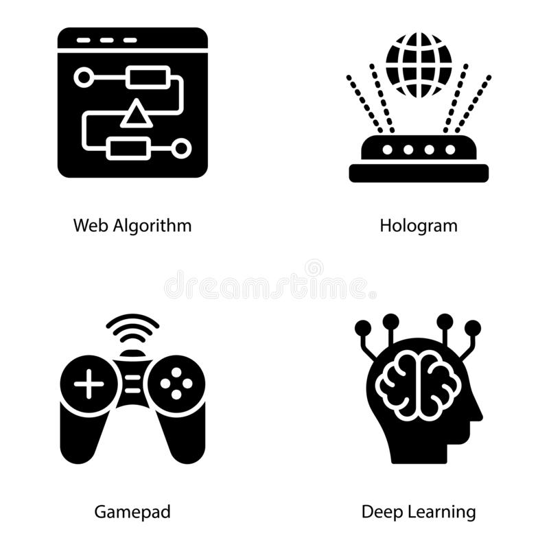 Artificial Intelligence Solid Vectors Pack. Is here to make your design project more interesting and charming. Pack with editable quality is here for you for stock illustration