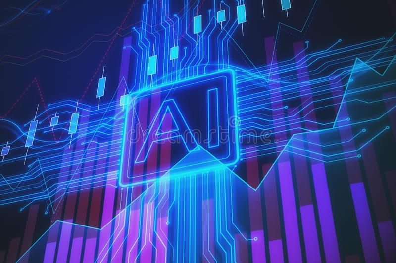 Artificial intelligence and stock concept stock illustration