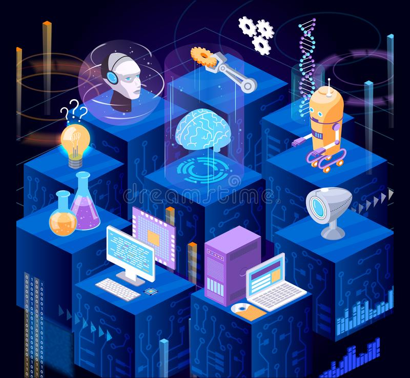 Artificial intelligence system, digital technologies of future, robotic technology. stock illustration